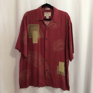Bamboo Cay Camp Shirt Maroon Embroidered Silk Blen